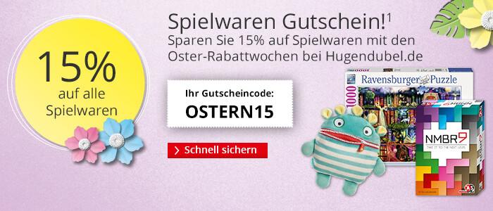 Ihr 15% Spielwaren Gutschein mit den Oster-Rabattwochen bei Hugendubel.de