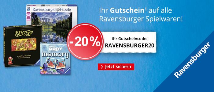 20% Rabatt auf alle Spielwaren von Ravensburger - jetzt sparen!