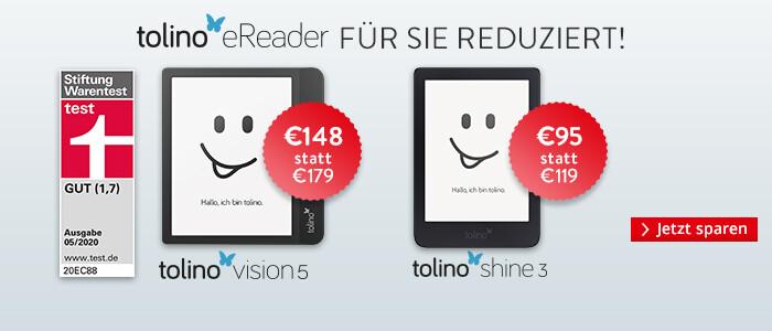Jetzt sparen auf die Top eReader tolino shine 3, tolino vision 5 und tolino epos 2
