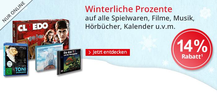 Winterrabatt: 14% auf Spielwaren, Filme, Hörbücher, Musik, Kalender u.v.m.