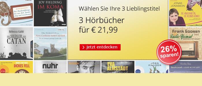 Drei Hörbücher für nur 21,99 EUR bei Hugendubel.de