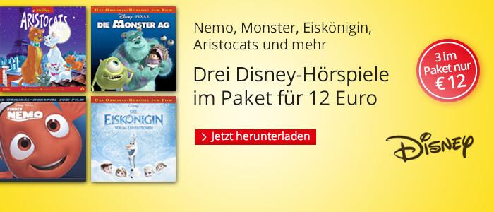 Drei Disney-Hörspiele für unr 12 Euro bei Hugendubel