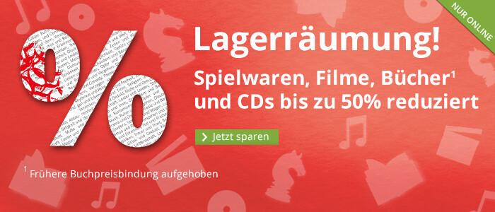 Lagerräumung: Spielwaren, Filme, Bücher und CDs bis 50% reduziert!