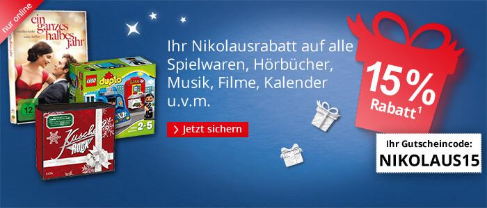 15% Nikolausrabatt auf alle Spielwaren, Kalender, Filme, Hörbücher u.v.m.