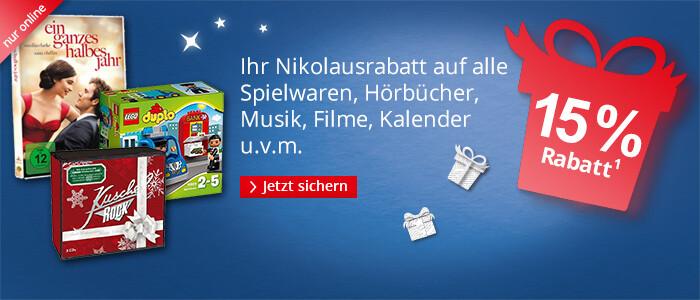 15% Rabatt auf alle Spielwaren, Filme, Musik, Hörbücher, Kalender u.v.m.