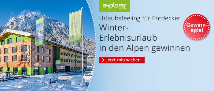 Gewinnen Sie einen Winter-Erlebnisurlaub in den Alpen