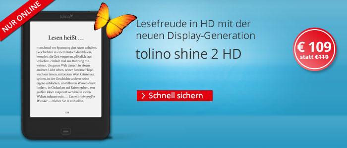 eReader tolino shine 2 HD für nur 109 EUR sichern