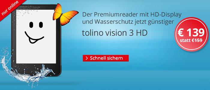 eReader tolino vision 3 HD nur 139 EUR bei Hugendubel