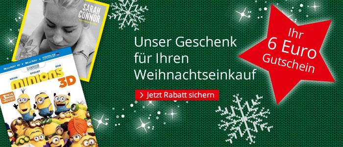 Ihr 6 Euro Gutschein für einen Weihnachgseinkauf bei Hugendubel.de