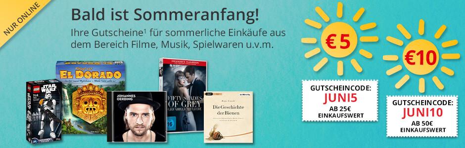 Ihre Gutscheine im Juni: Sparen Sie 5€ und 10€ auf Spielwaren, Filme, Musik, u.v.m.