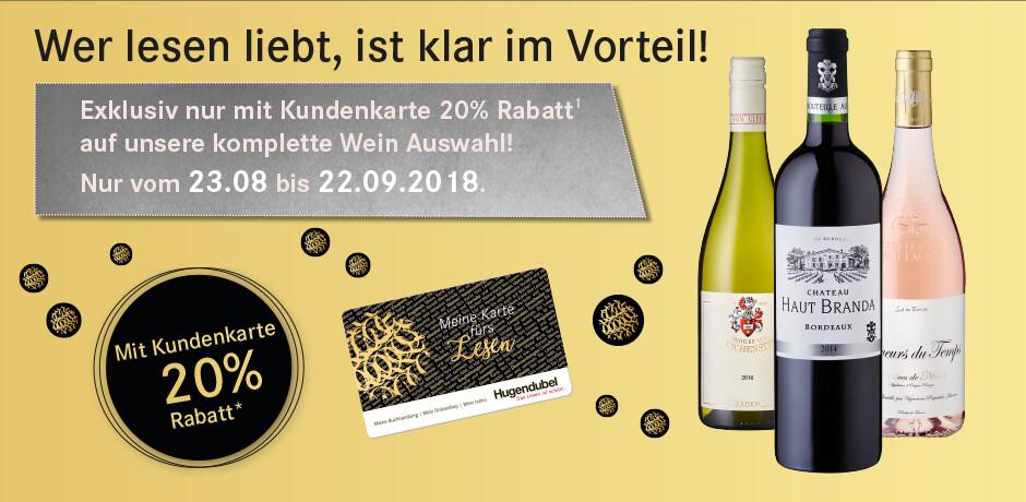 20% Rabatt auf Weinsortiment nur für Kundenkarten-Besitzer