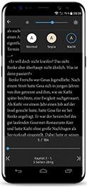 Die tolino App für Android - Licht-Modus