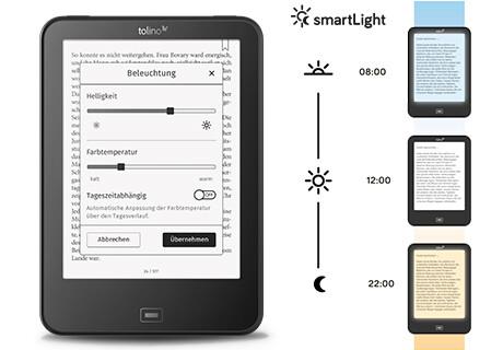 tolino vision 4 HD mit smartLight - automatische Farbanpassung des Lichtes